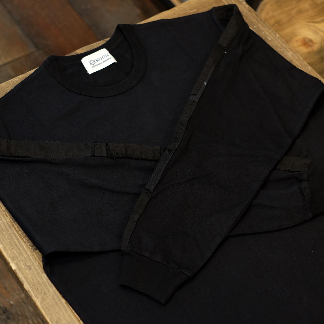 KUON(クオン) アップサイクル トリミングロングTシャツ ブラック×ブラック