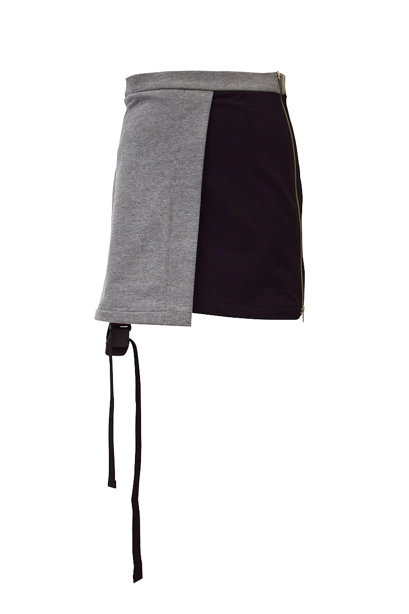 Svarka / DOUBLE-LAYERED SKIRT / BLACK×GRAY