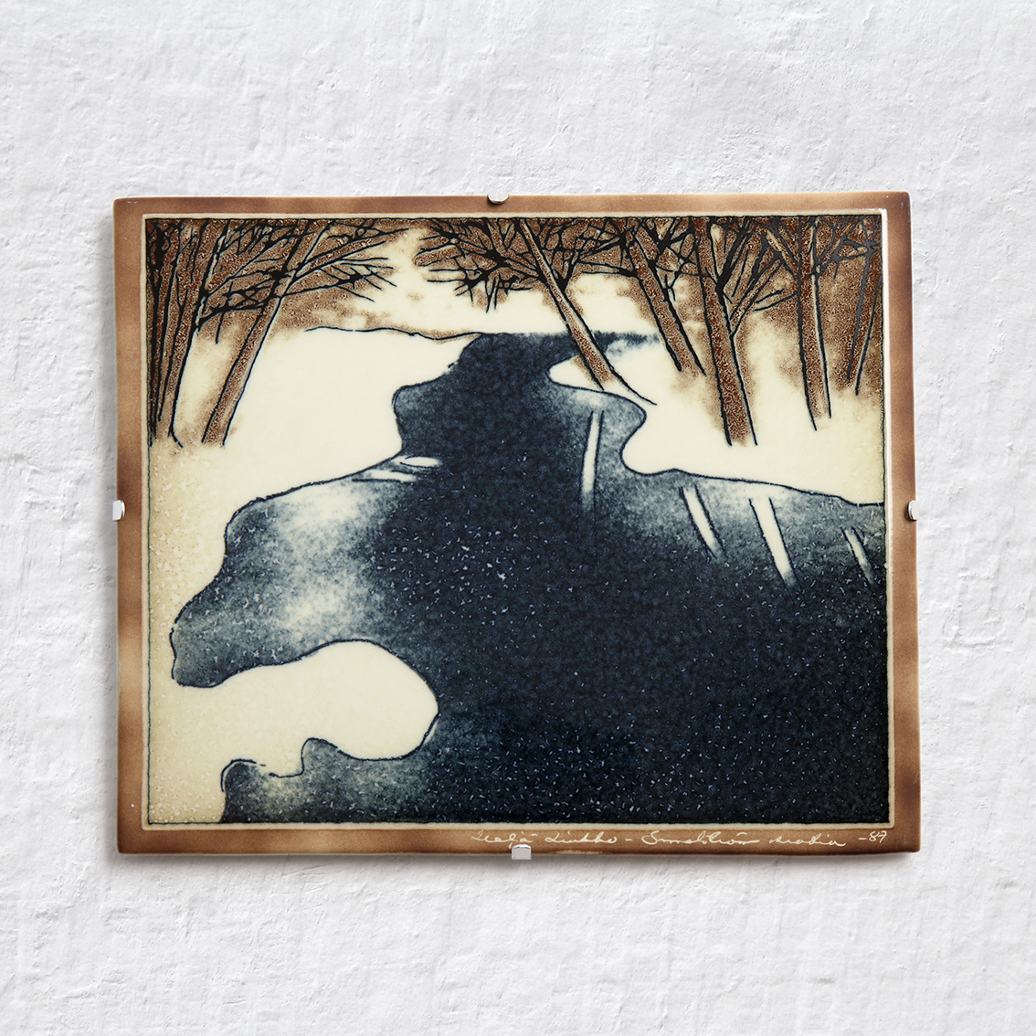 ARABIA アラビア Helja Liukko-Sundstrom ヘルヤ リウッコ スンドストロム 川の陶板(オリジナル紙箱入り) 北欧ヴィンテージ