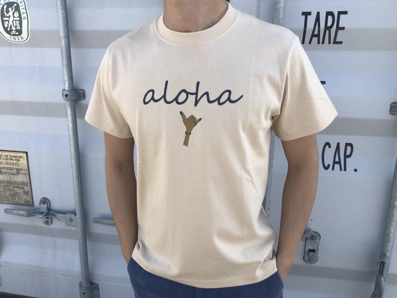 【7/3 21:00再入荷】(Fine7月号掲載) alohaサイン Tシャツ(beige 日焼けサイン)