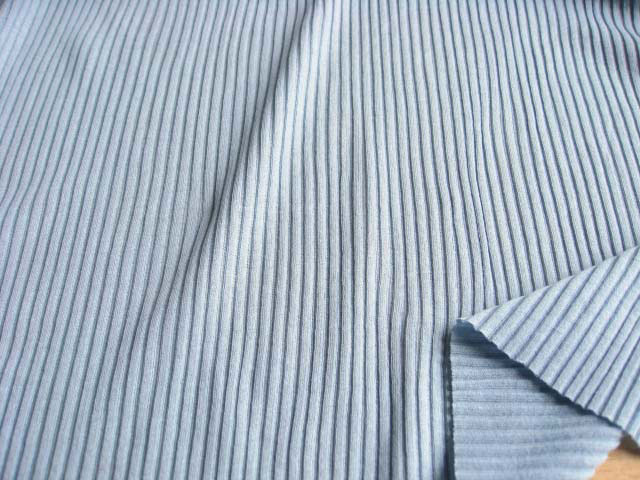 綿強撚糸使い 畝編みニット ライトアッシュブルー NTM-2274