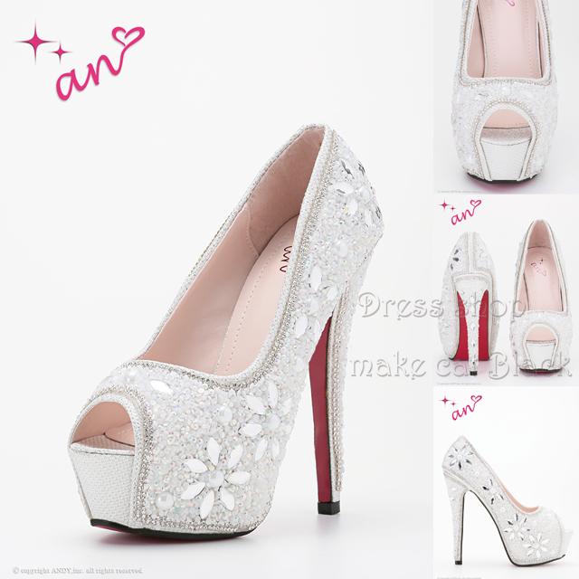 パンプス ¥12,960-(税込み) [an] AOC-SH009  White キャバドレス ドレス サンダル ヒール