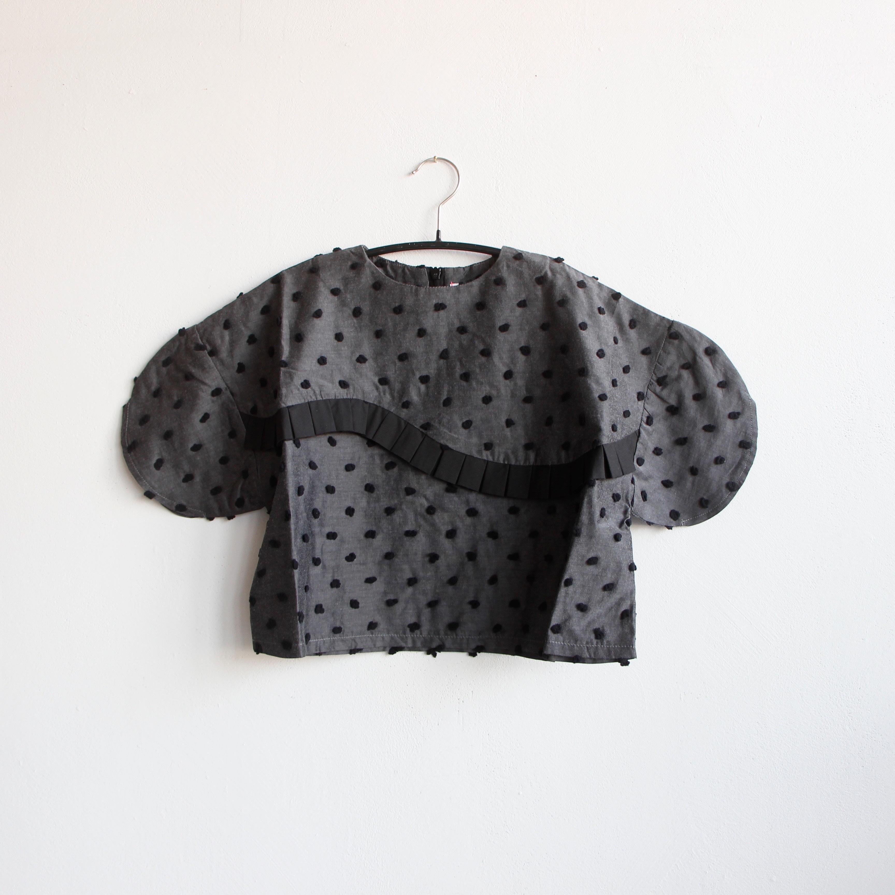 《frankygrow 2020SS》BONBON CUT JQ SWITCHING PLEATS TP / gray × black bonbon / LL