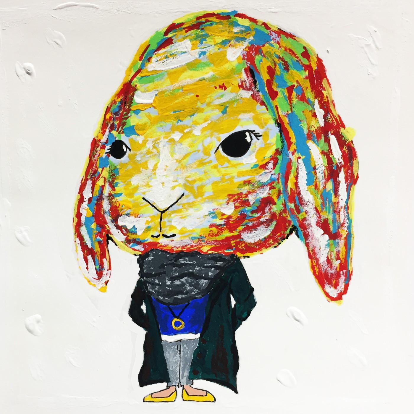 絵画 インテリア アートパネル 雑貨 壁掛け 置物 おしゃれ アクリル画 イラスト ウサギ 動物 ロココロ 画家 : yuki 作品 : 優艶