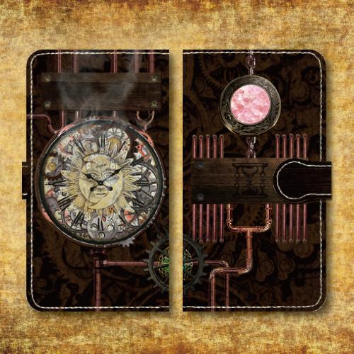 スチームパンク調/タイムマシン/機械/時計/歯車 レトロ/ピンク/Androidスマホケース(手帳型ケース)