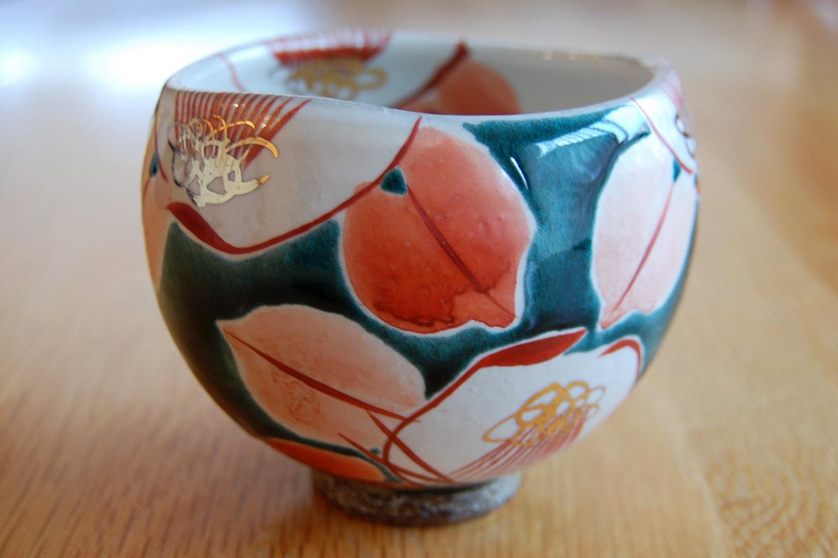 いっぷく碗 釉彩椿