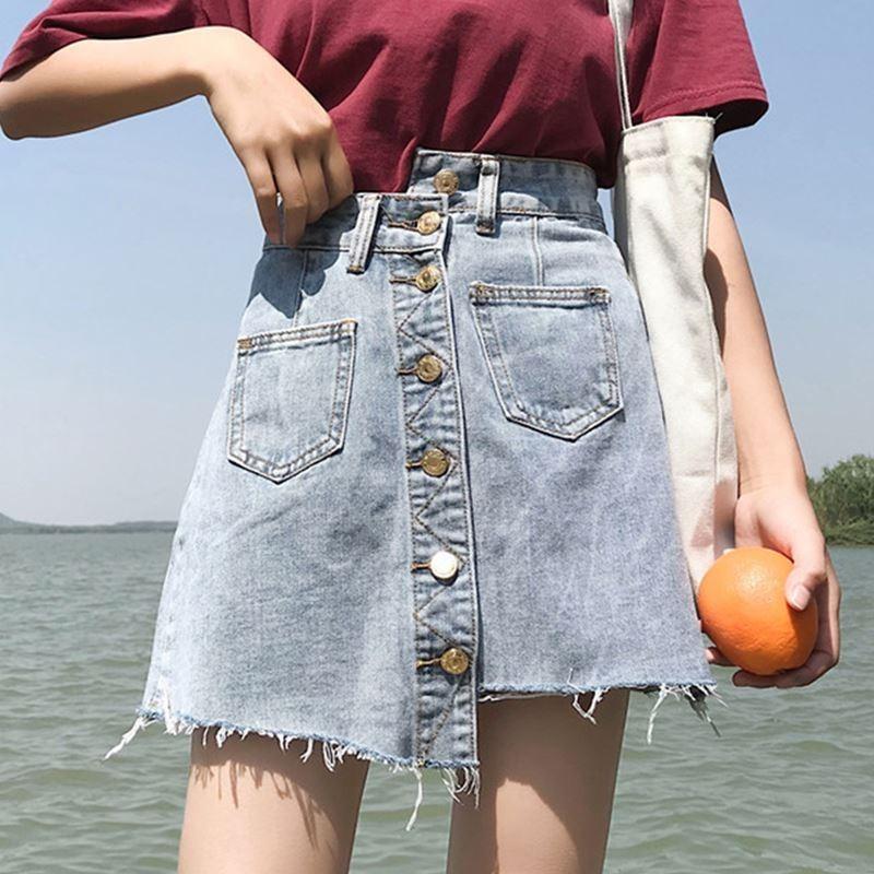【bottoms】カジュアル膝上ハイウエストAラインスカート18090245