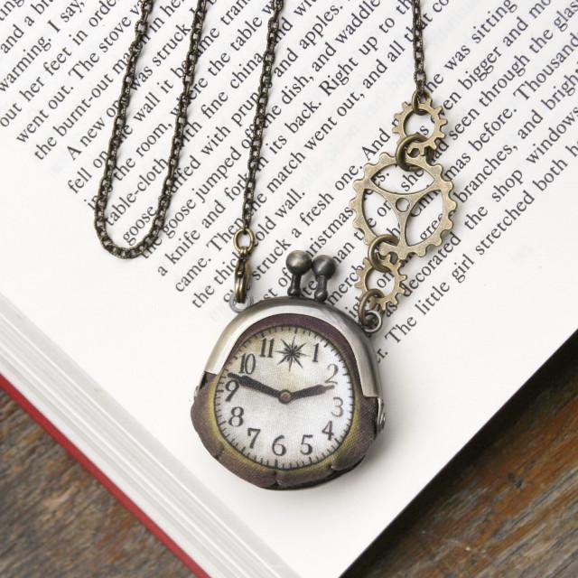【即納】時計がま口ミニ 大きな歯車のネックレス  アンティーク風時計 - 金星灯百貨店