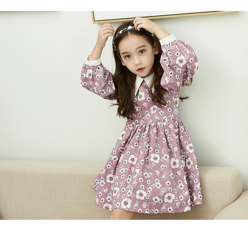 d7c19abc17858 flower onepeace dress autumn fall kids winter party 花柄 秋冬 ワンピ ドレス おでかけ かわいい  ピンク 襟つき ワンピ キッズ