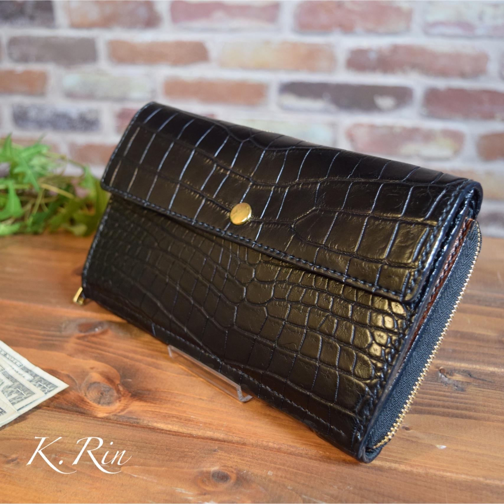 【オーダーメイド制作例】ワニ革のクラッチ財布
