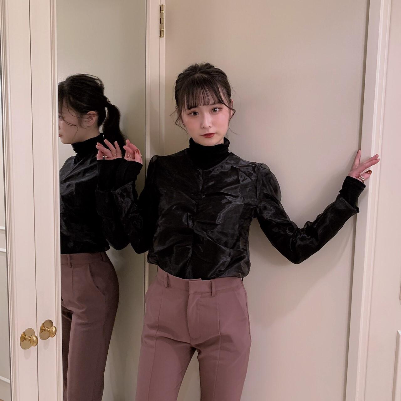 【meltie】see-through shiring blouse
