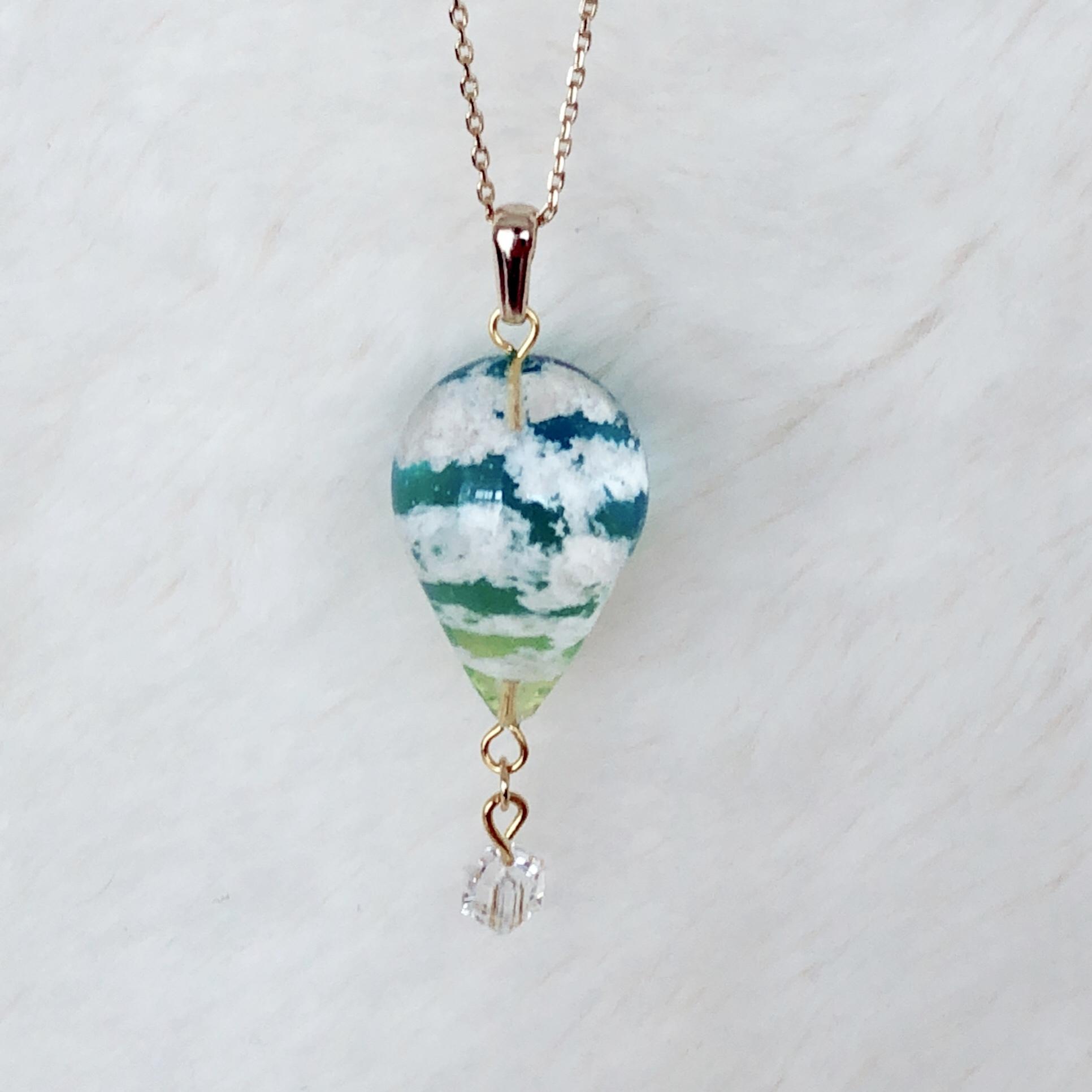 【雪うさぎの告白館】P20-1 黄昏気球ネックレス (アクアマリン)