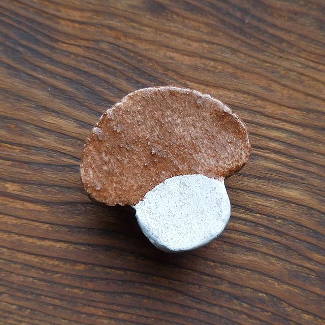 (3) 帯留め キノコ 陶器製 ハンドメイド 和小物 【レターパックライト可】