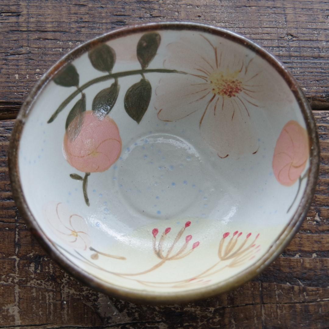 やちむん【工房くばやー】花柄4寸鉢