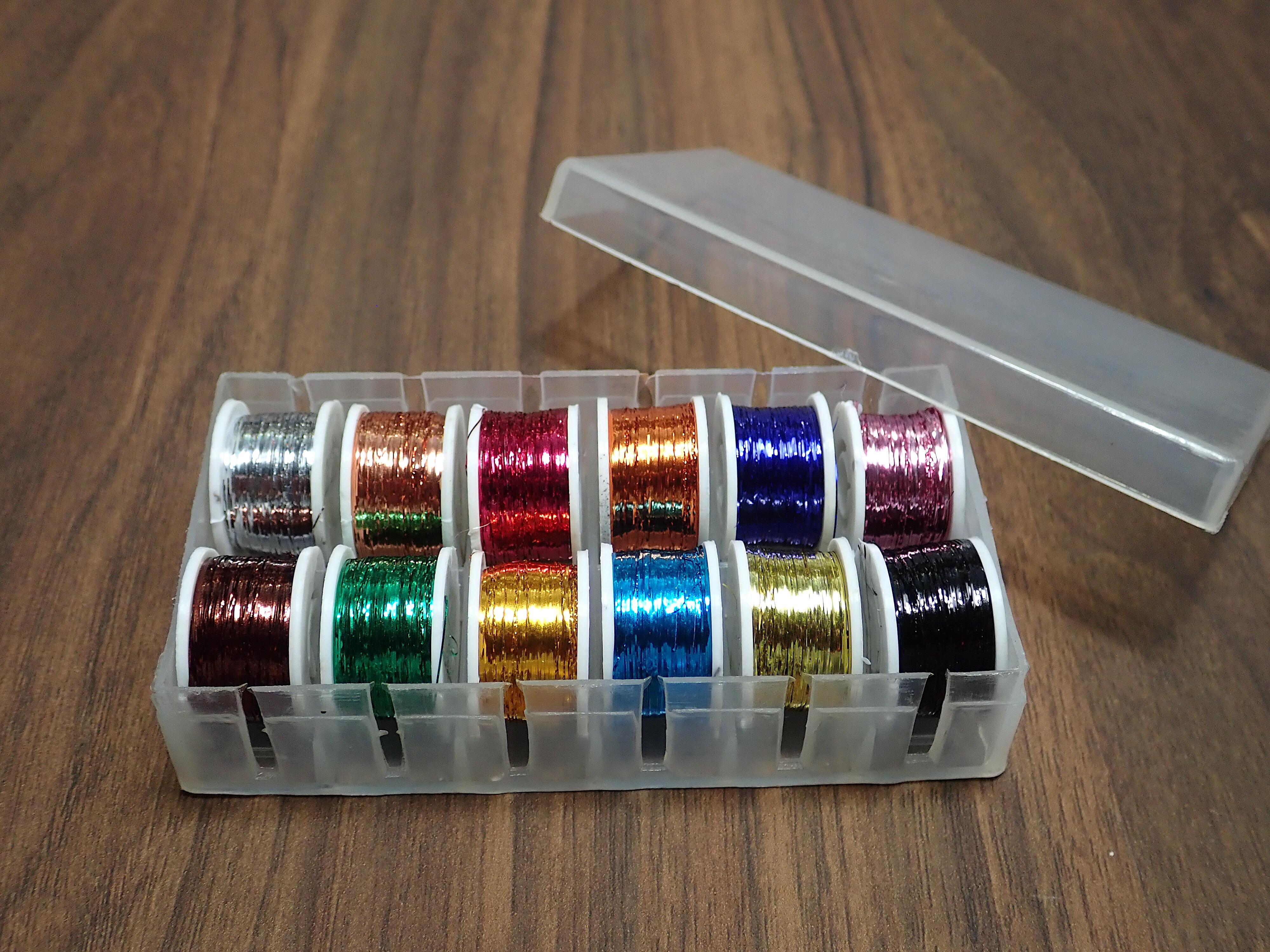 Flat Tinsel Box of 12 Small Spools Multi Colors プロタイヤーパック