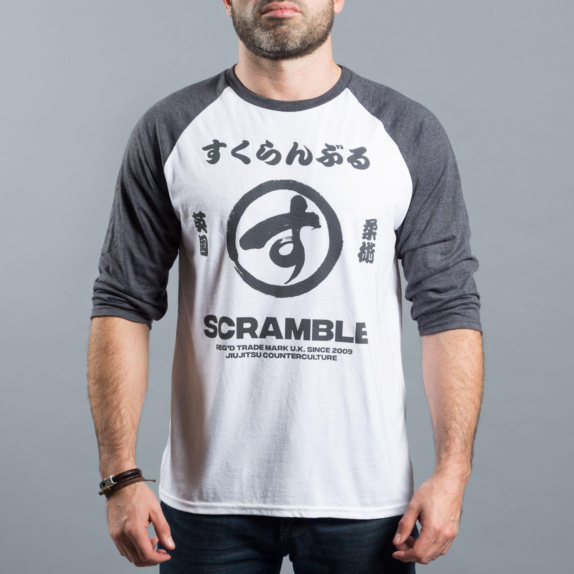 SCRAMBLE スクランブル BRUSH LOGO RAGLAN TEE|格闘技、柔術Tシャツ
