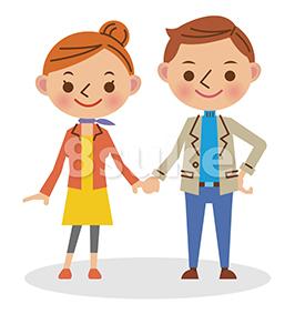 イラスト素材:手をつなぐ若いカップル(ベクター・JPG)