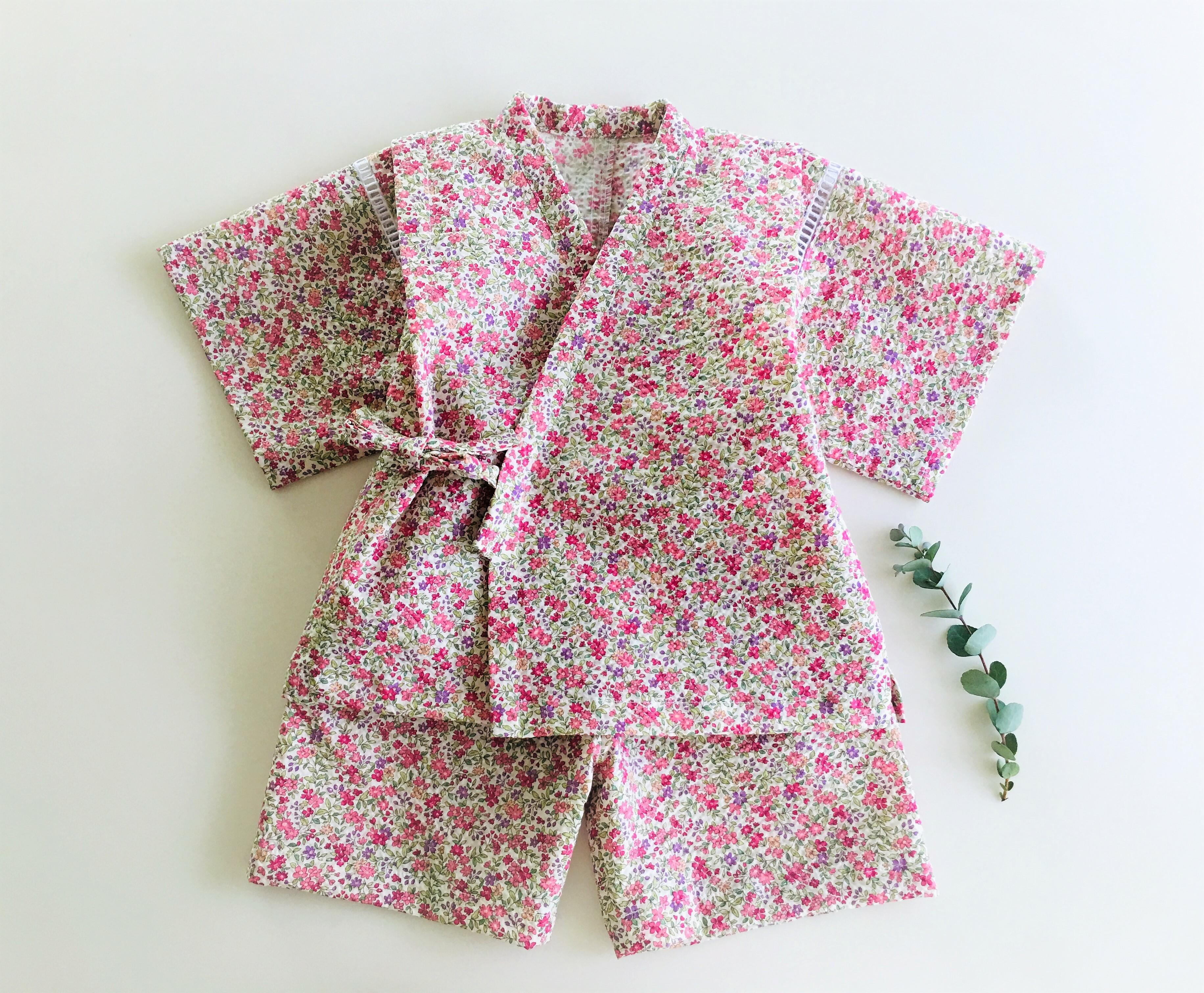 甚平 ピンクの小花柄80cm