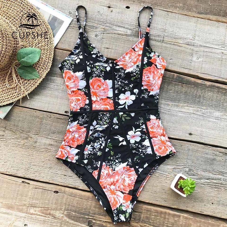 即納 black flower monokini bikini サイズS