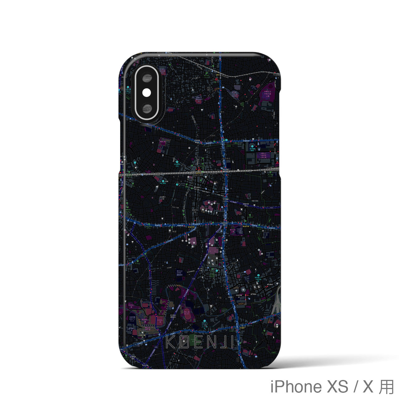 【高円寺】地図柄iPhoneケース(バックカバータイプ・ブラック)