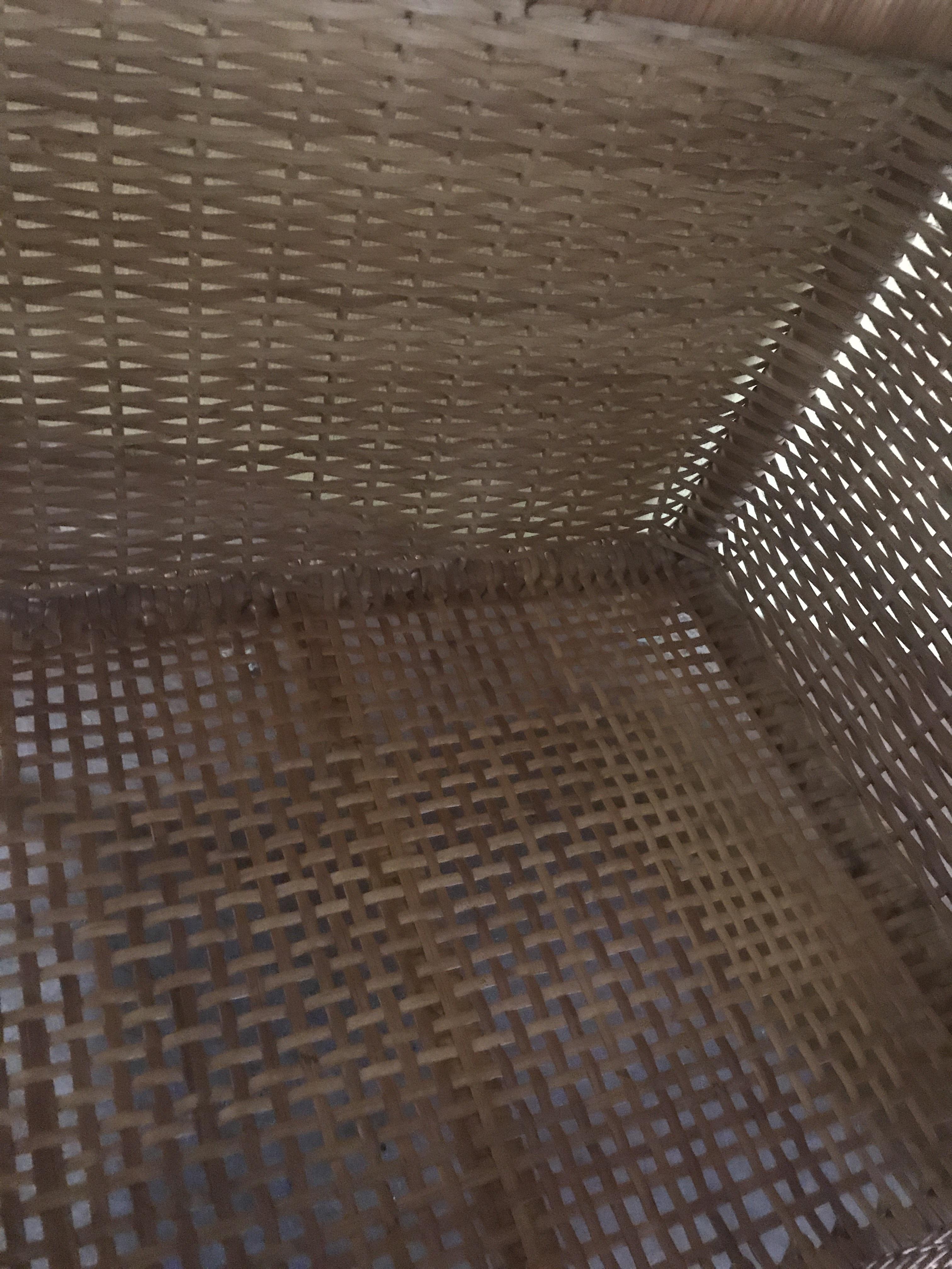籐製 蓋付きかご