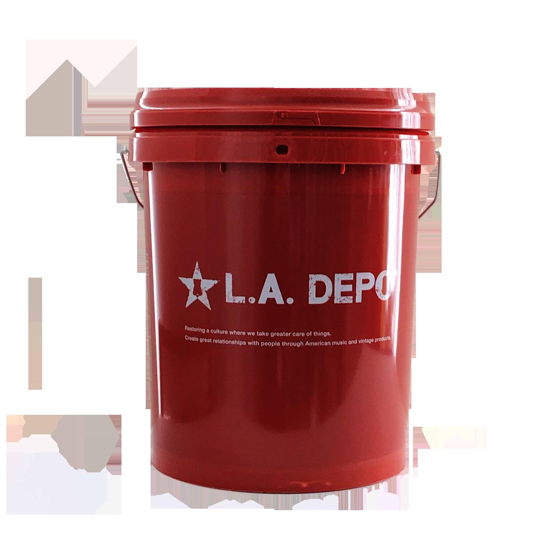 品番0016 L.A.DEPO エルエーデポ バケツ バケット フタ付 茶色 アメリカン雑貨