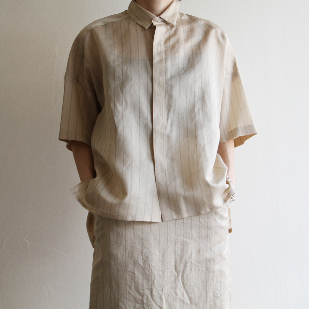 UNION LAUNCH  【 womens 】silk stripe shirts