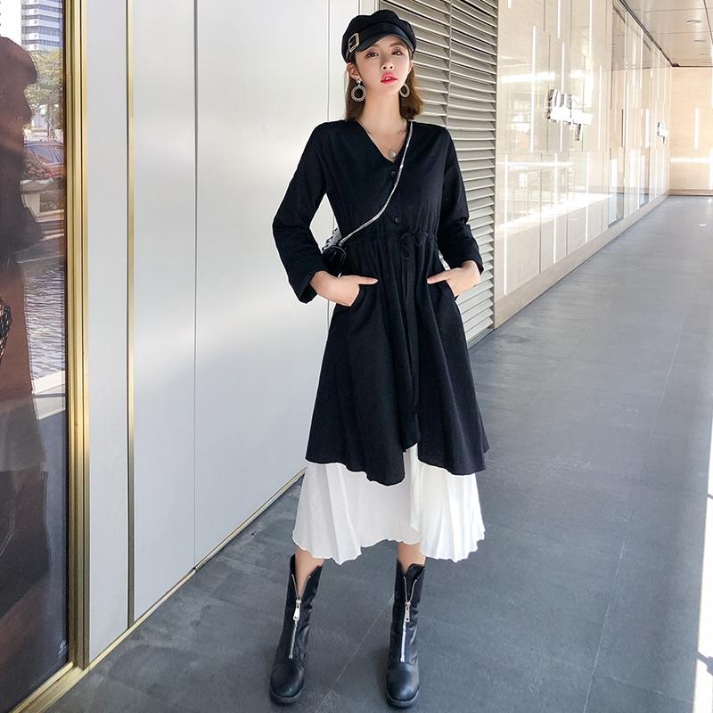 「セットアップ」ファッションvネック長袖ワンピース+キャミソール配色ワンピースカジュアルセットアップ