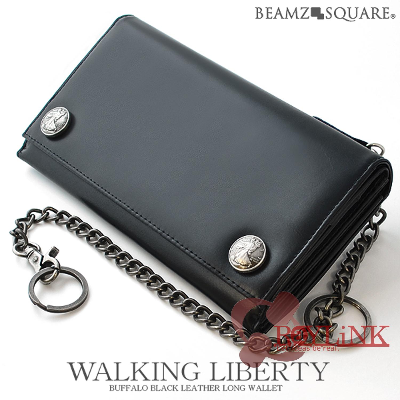 【メンズ財布】BEAMZSQUARE バッファローブラックレザーロングウォレット