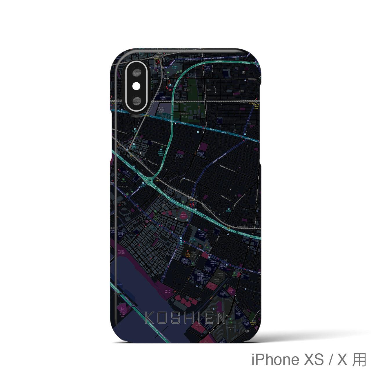 【甲子園】地図柄iPhoneケース(バックカバータイプ・ブラック)