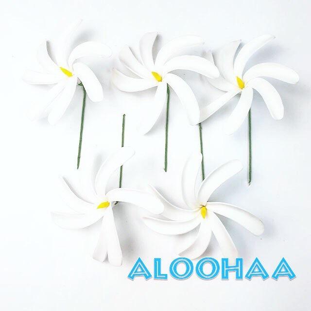 ティアレピック M 5個セット #10-031-CF ウレタン造花ハワイアン、フラ、タヒチアン、衣装