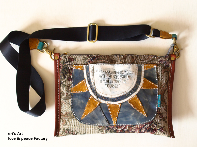 ゴブラン織り+革のバッグ Bag-118
