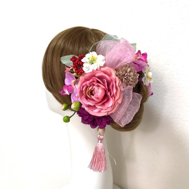 成人式 卒業袴 和装髪飾り♡ラナンキュラスと胡蝶蘭とリボンの髪飾り (Uピン15本セット)