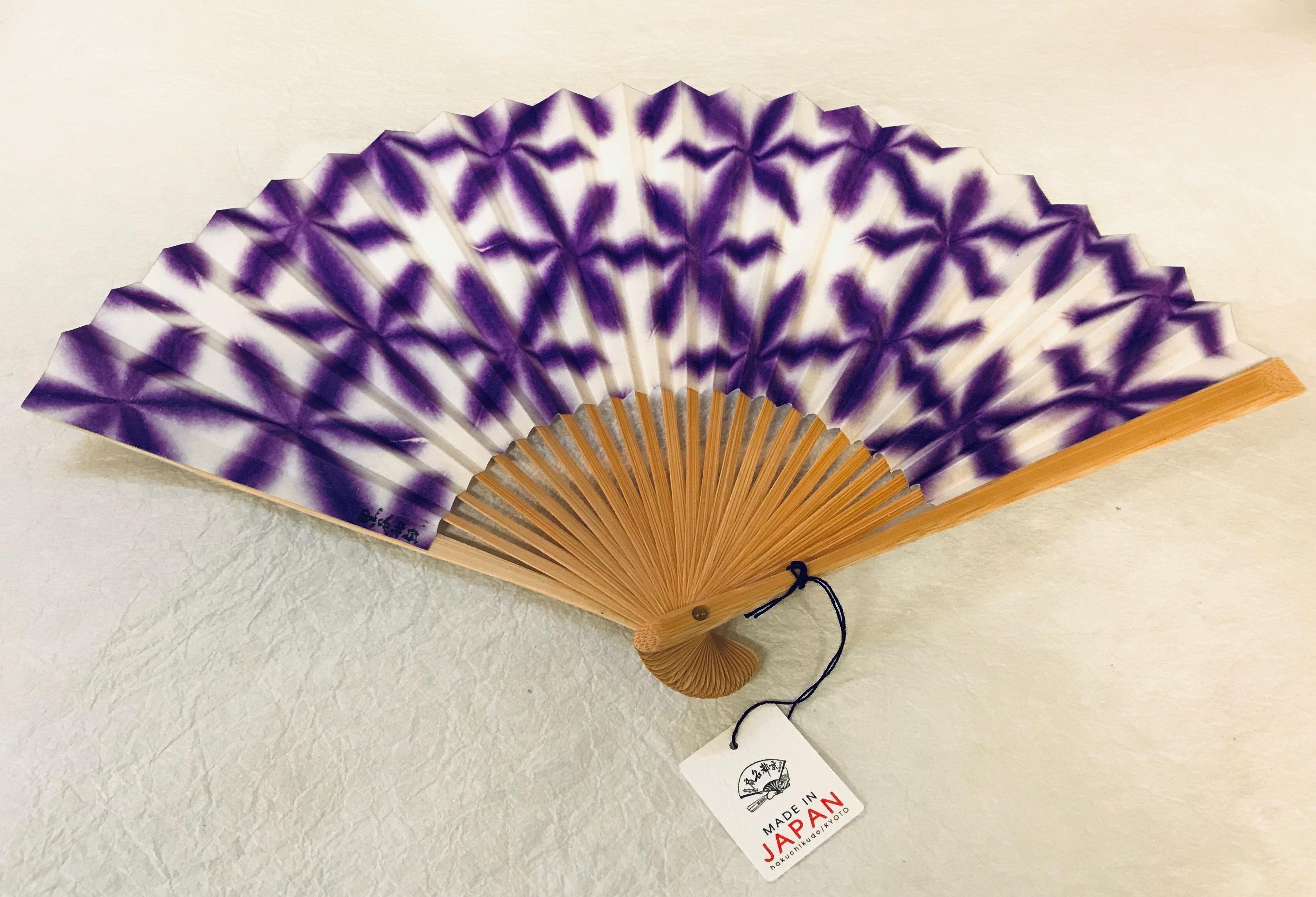 京都黒谷和紙 扇子 雪花絞り 女性用 (紫)