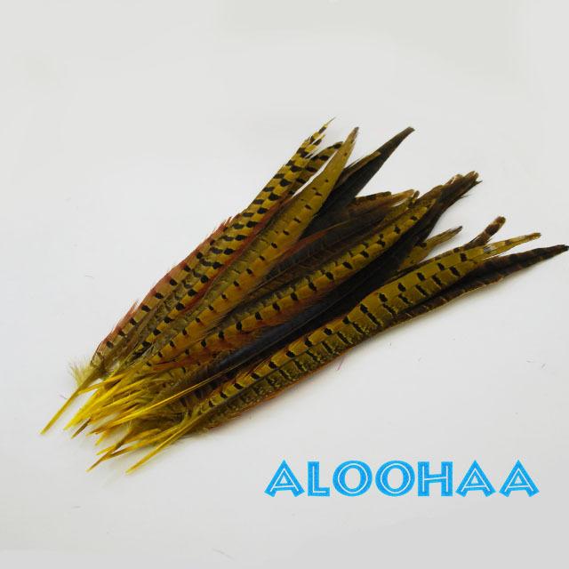 ロングフェザー 【イエロー】30-35cm 5本 タヒチアン 衣装 材料 キジ 染め 羽根