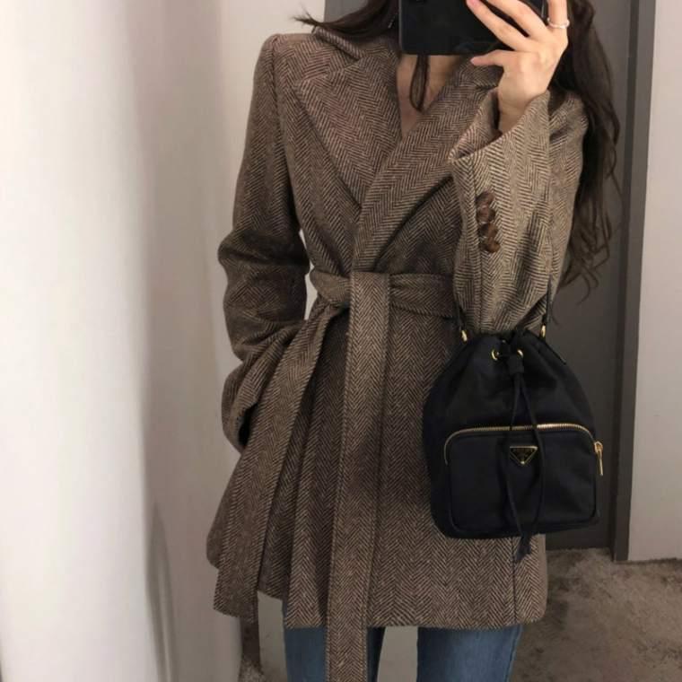 【送料無料】 フェミニンコート♡ 大人可愛い きれいめ ウール ジャケット ショート コート ウエストマーク付き