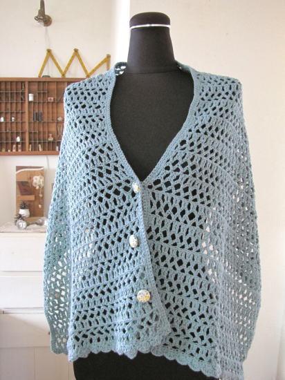 手編み*ストール ボタン付き ブルー/sakura