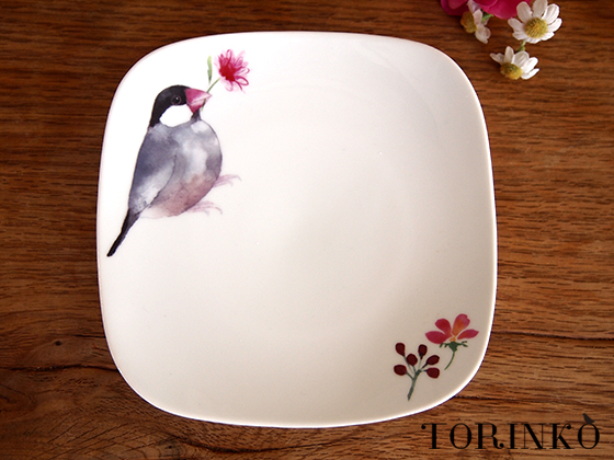桜文鳥 お皿 (黒文鳥)