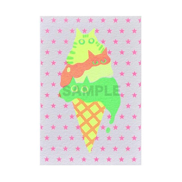 台湾 手刷りポストカード Melting ice cream