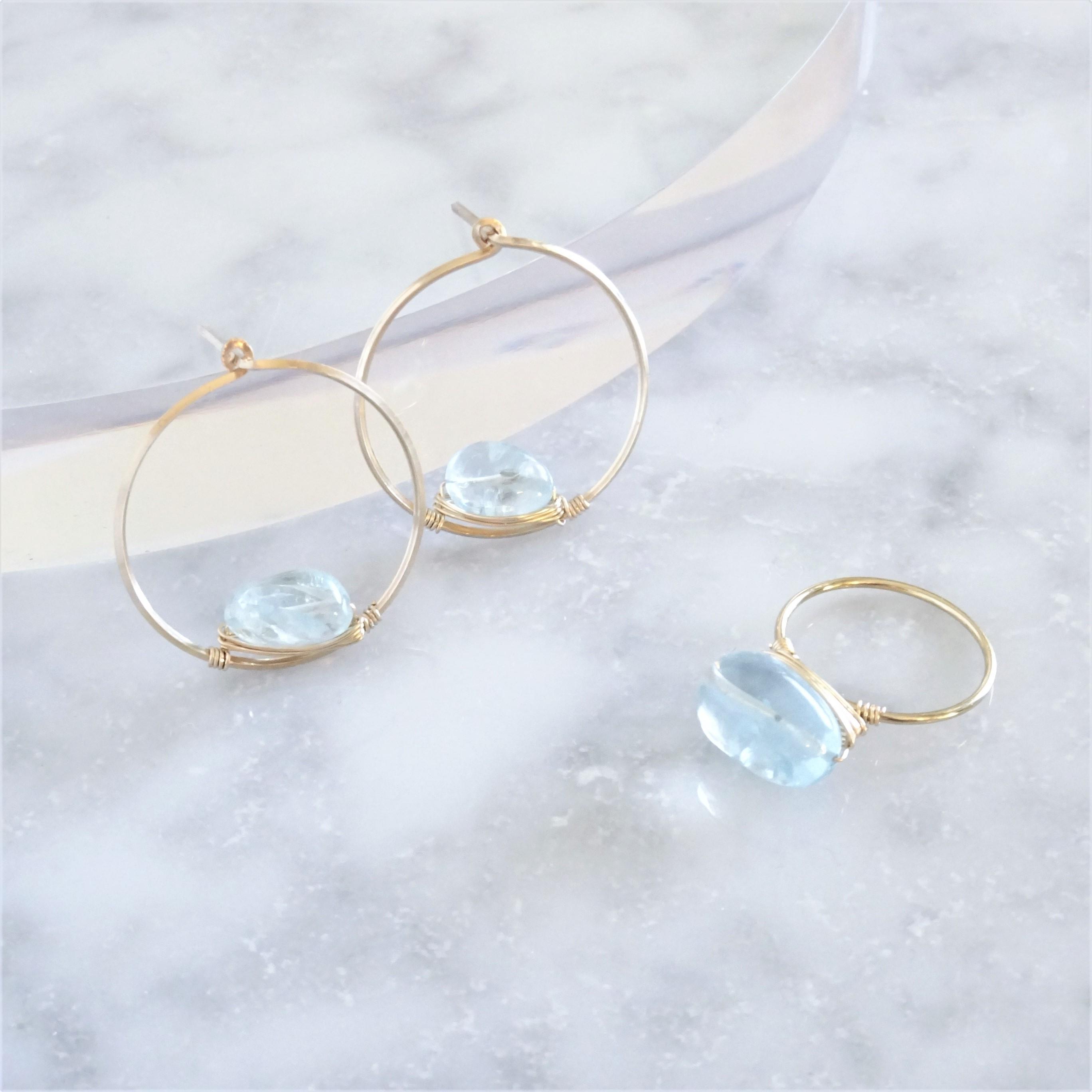 福袋14kgf*宝石質Aquamarine wrapped ring + pierced earring
