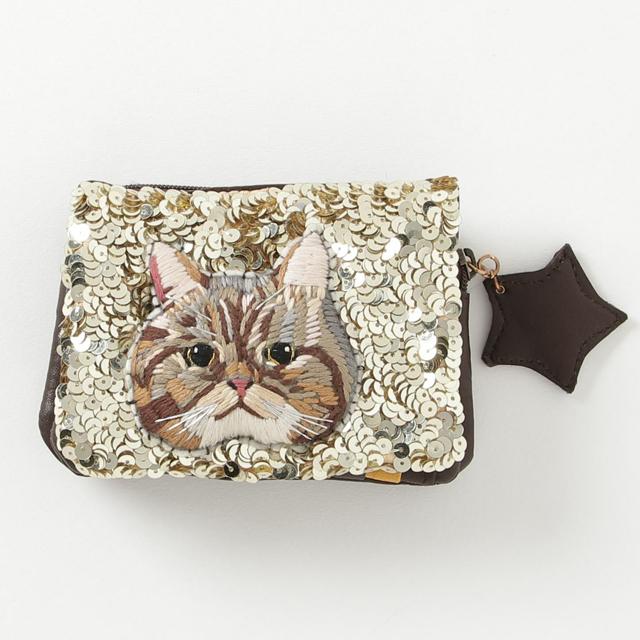 WAL2217/スパンコール折り財布Gold/cat