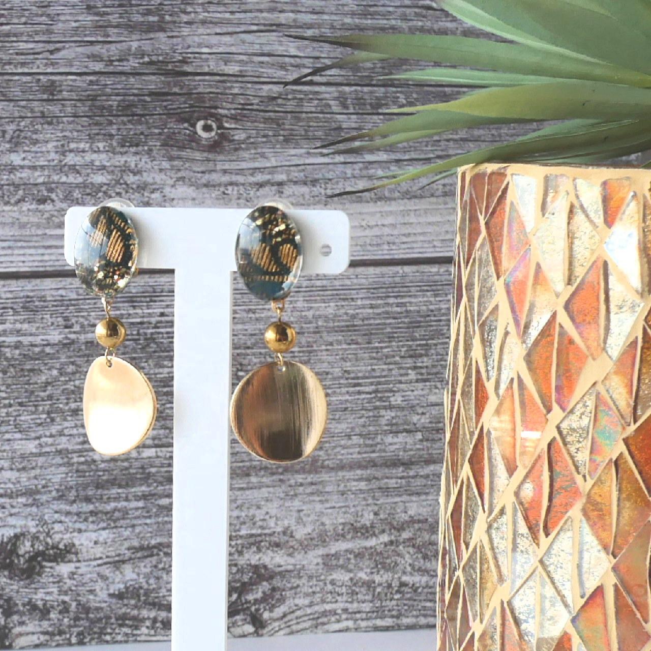 """"""" Earrings NO.0-1655″ エスニックリボンとゴールド"""