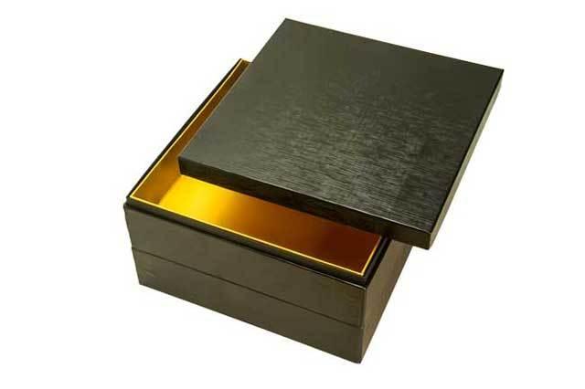 7寸2段 おせち箱 黑漆風(印刷)