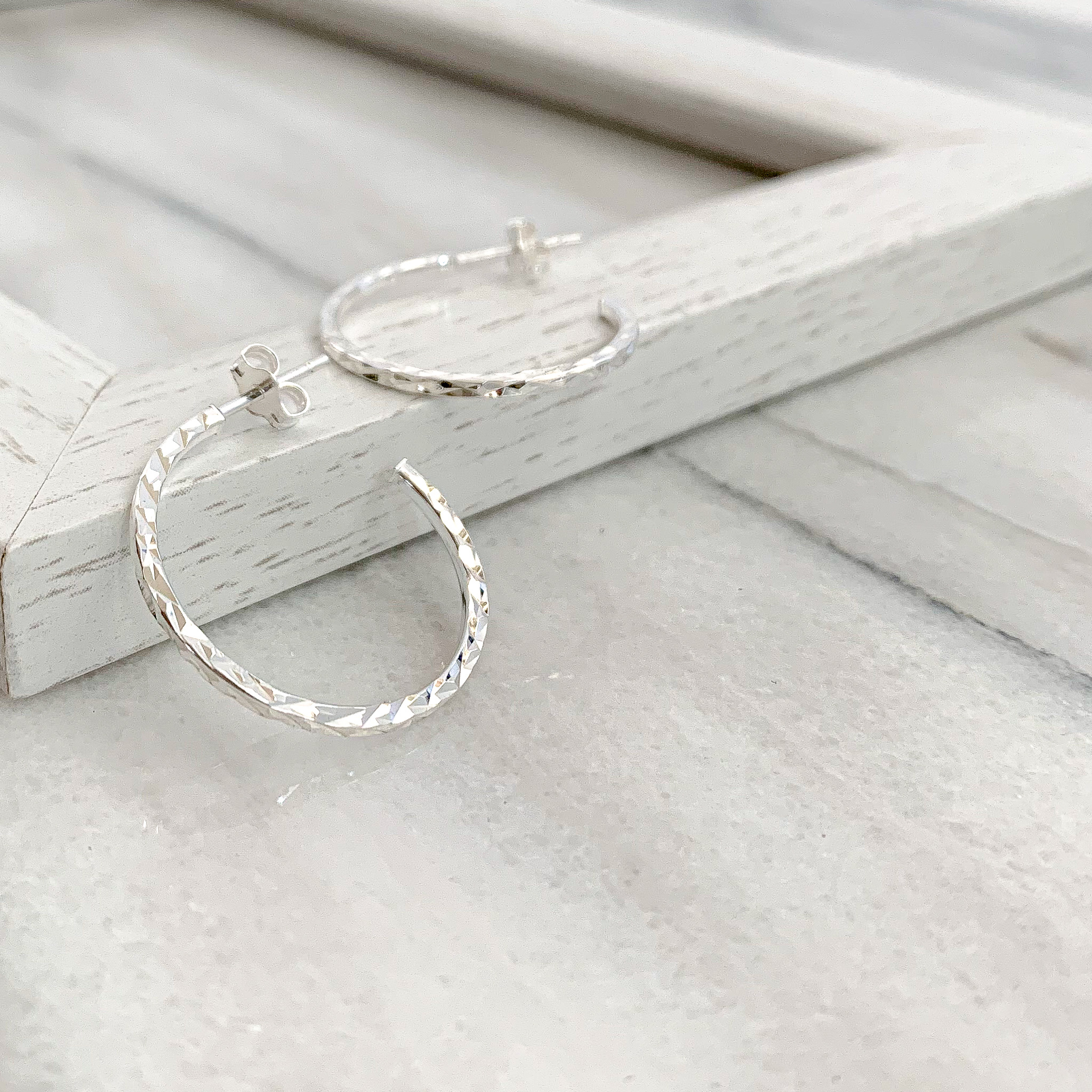 fine cut round hoop ピアスS・L/2タイプ(silver)