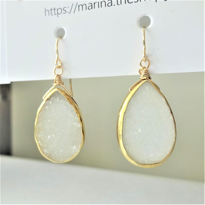 送料無料 14kgf♡monotone Druzy pierced earring / earring
