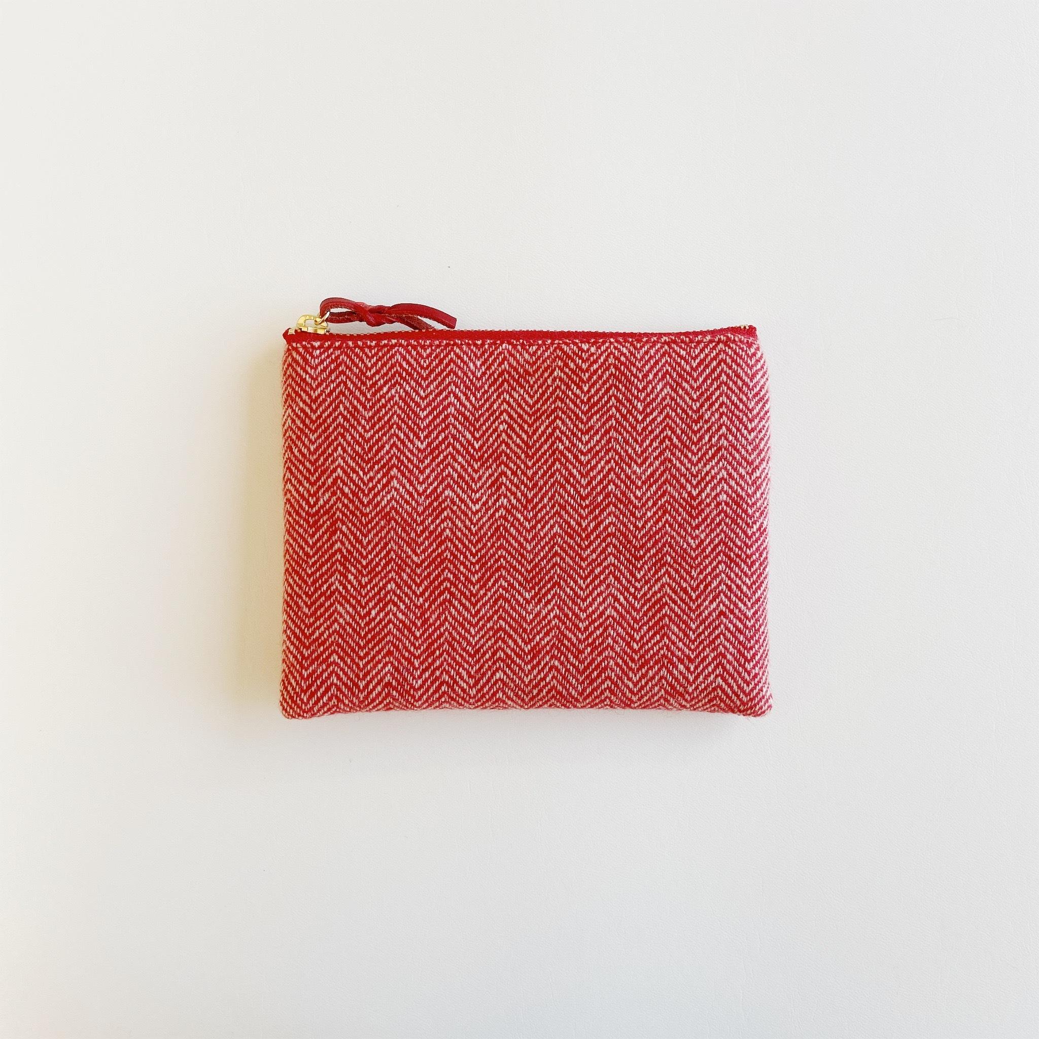 手織りミニポーチ(Accessory case Cashmere red herringbone)