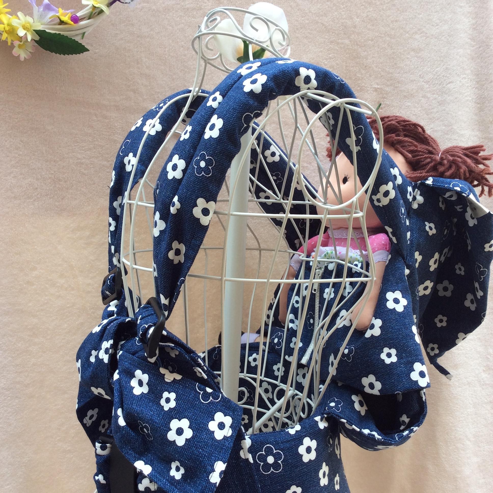 初めてママを応援する♡使い方簡単♡寝かしつけバッチリおんぶ抱っこ紐 (デニム花柄)