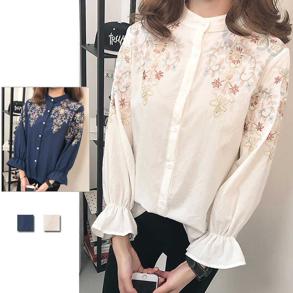 ブラウス 透け感 チェック 即納 ブラウス レディース 刺繍 トップス 花柄 長袖 シャツ かわいい