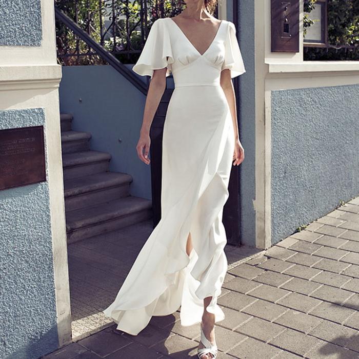 Vネック&バック ドレープフリル ロングドレス ワンピース 白