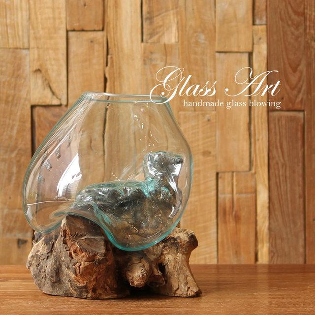 ■当日出荷■吹きガラスと木のオブジェ L ベタ や メダカ の飼育にも オシャレな水槽 アソート